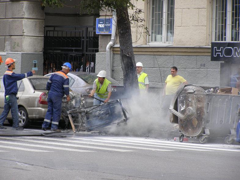 Падение крана на стройплощадке в Туле