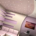 Освещение в комнате с натяжным потолком